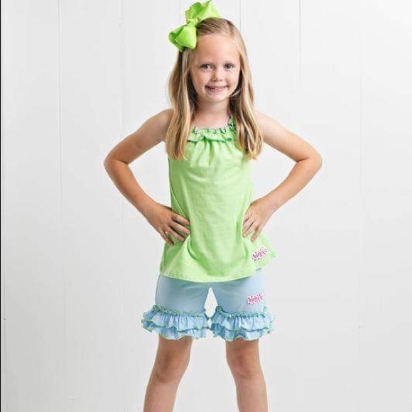 Ruffle Girl Other - Ruffle Girl Green/Light Blue Ruffle Neck Short Set